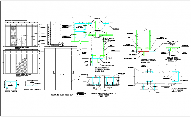 Section detail of steel structure dwg file