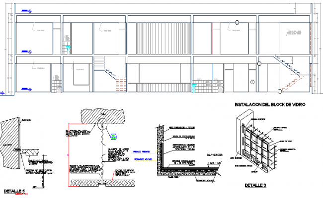 Section details with construction of finance center office dwg file
