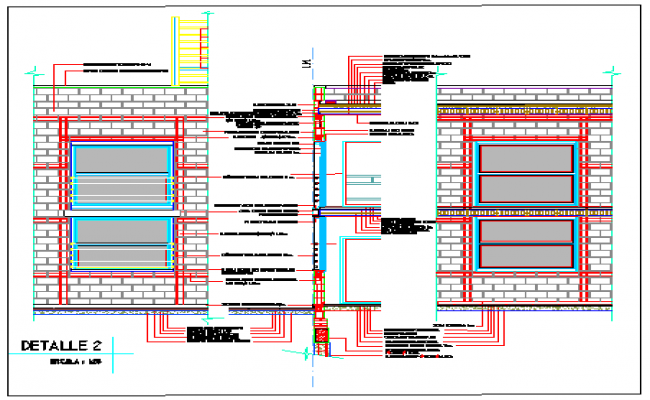 Section drawing  by elevation with walls in concrete blocks and lintel level design drawing