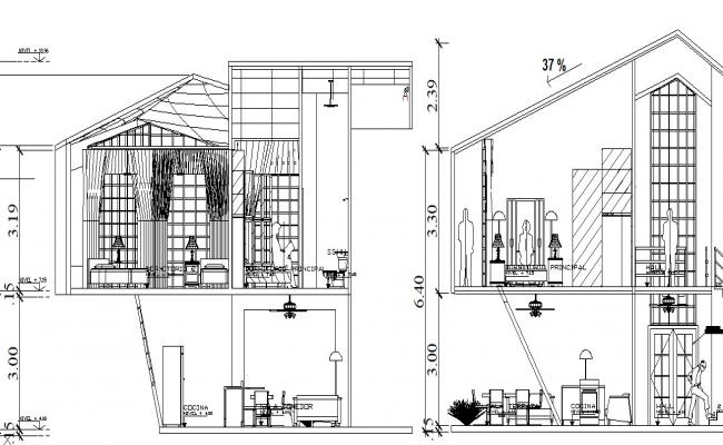 2 Storey house design in AutoCAD file
