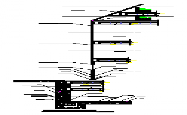 Section drawing of Edge cutting building department design drawing