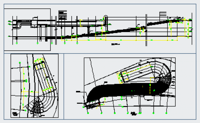 Section drawing of car ramp U turn design drawing