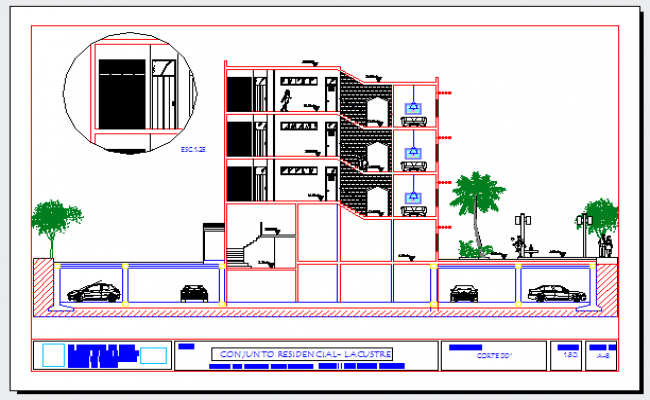 Section drawing of residential assembly design drawing