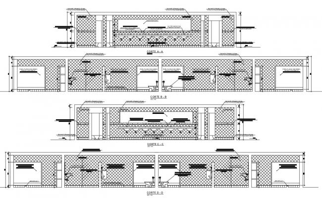 Section drawing of washbasin in autocad