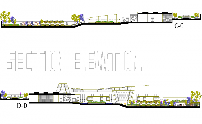 Section elevation mall layout file