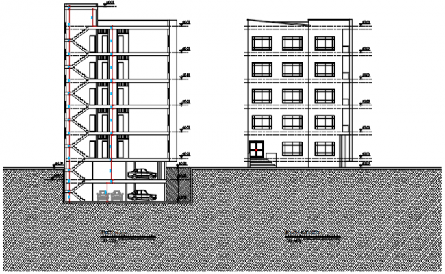 Section elevation plan detail dwg file,