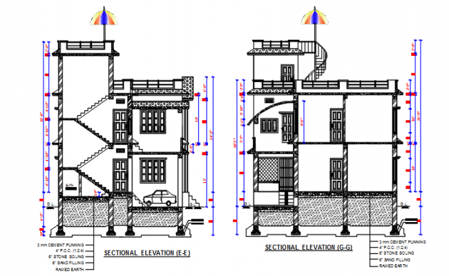 Section elevation plan detail dwg file