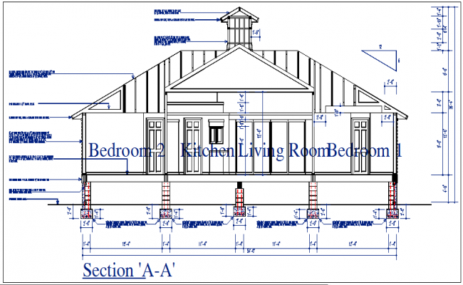 Section elevation view of house detail dwg file