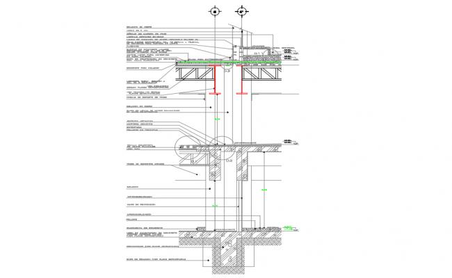 Section facade basement dwg file
