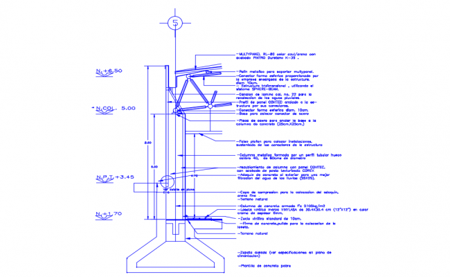 Section facade three-dimensional structure dwg file