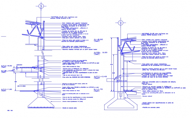 Section facade three-dimensional structure plan
