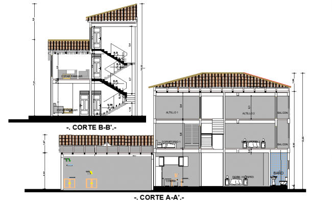 Section home plan autocad file