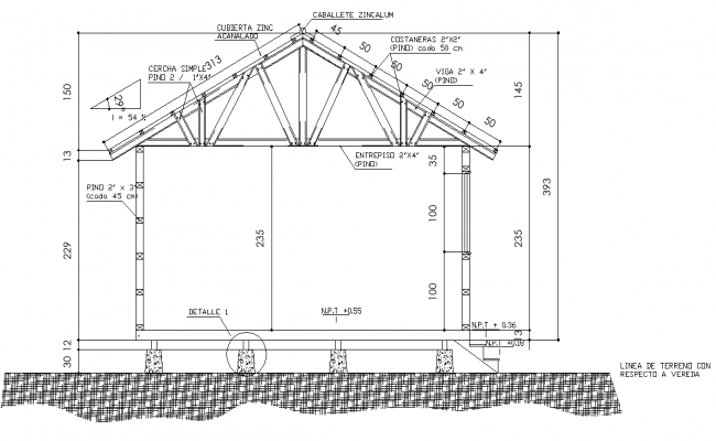 Section home plan detail dwg file