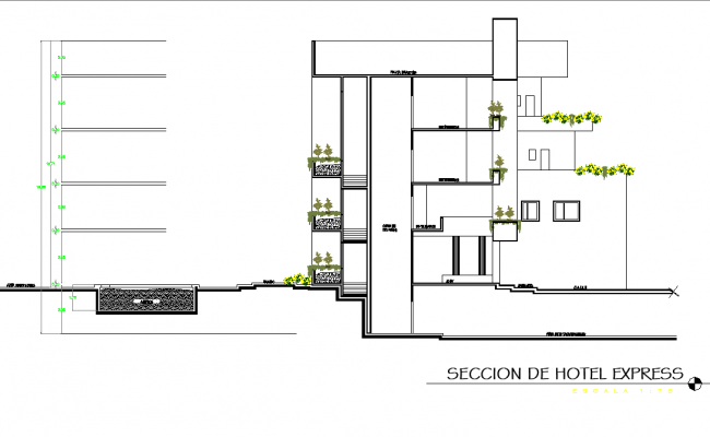 Section hotel plan detail dwg file