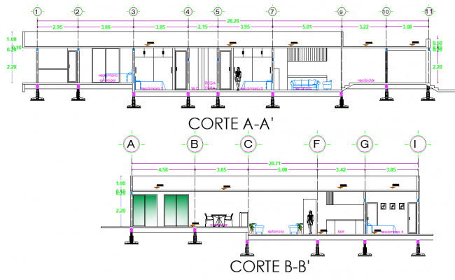 Section house 3 bed room plan detail dwg file