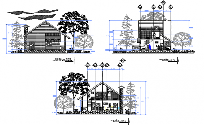 Section house detail dwg file