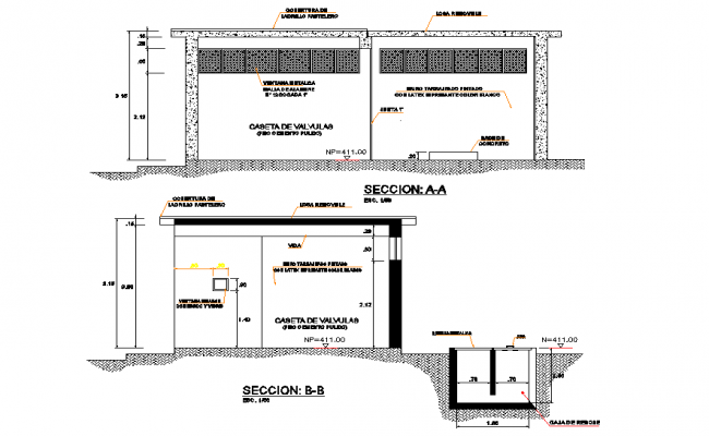 Section house plan autocad file