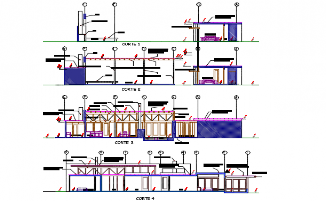 Section house plan detail dwg file