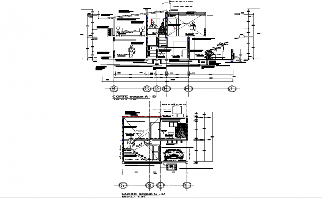 Section house planning detail dwg file