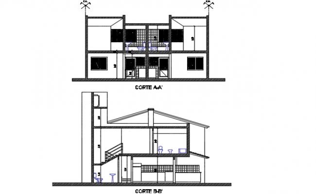 Section housing plan detail dwg file
