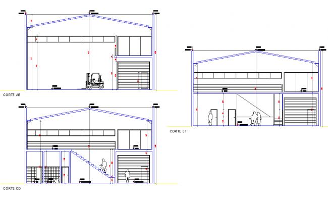 Section industrial pavilion deposit plan detail dwg file