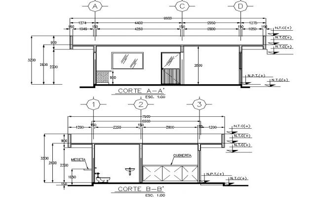 Section industrial plant detail dwg file
