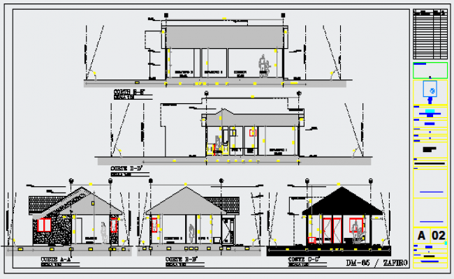 Section layout of housing design drawing