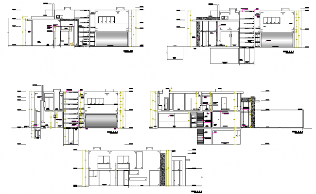 Section living house plan layout file