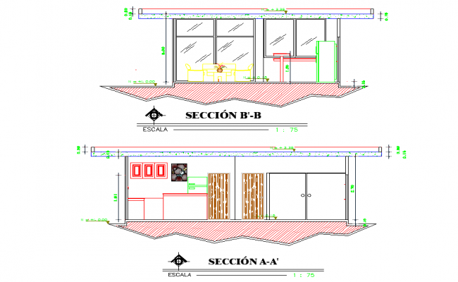 Section living room detail dwg file