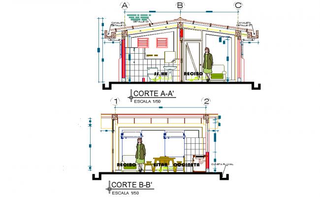 Section module housing detail dwg file