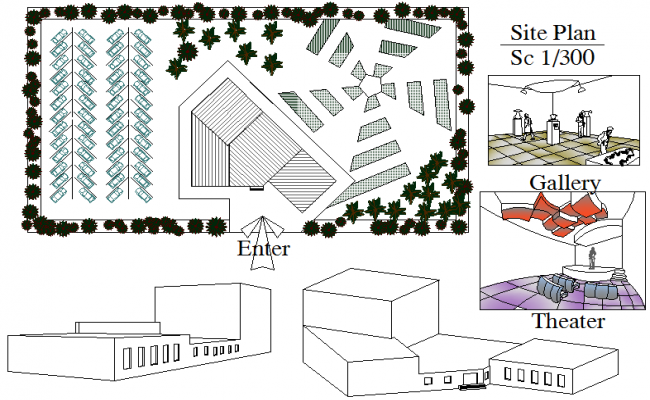 Section museum plan detail dwg file