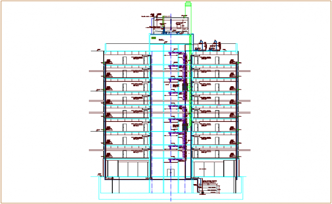 Section of Air conditioning system with pipe for apartment dwg file