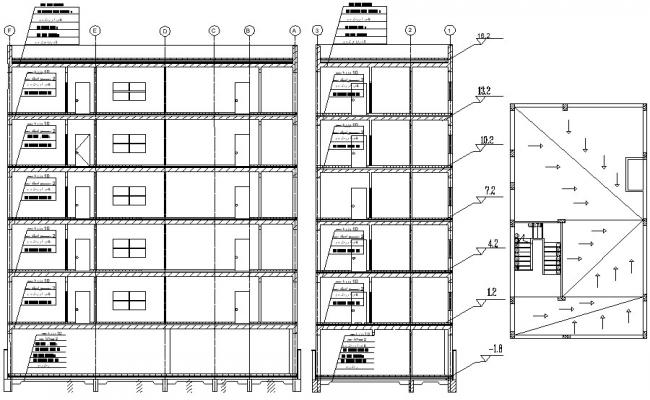 Section of a building AutoCAD drawing download
