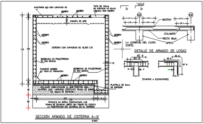 Section of armado de cisterna detail dwg file