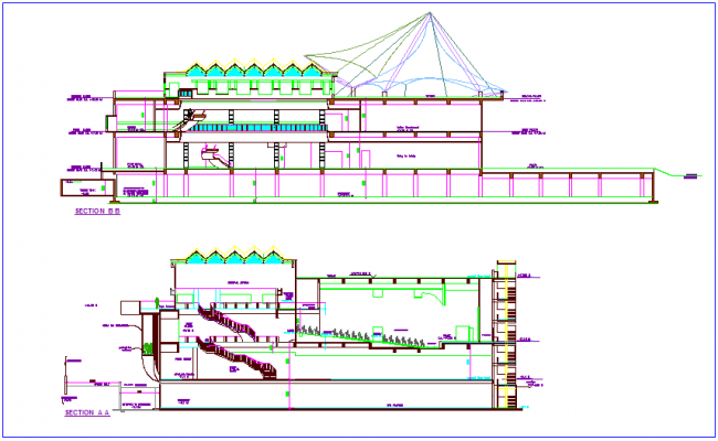 Section of different view for club house  dwg file