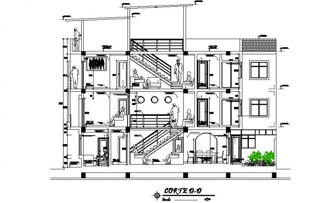 Section of family housing detailed dwg file