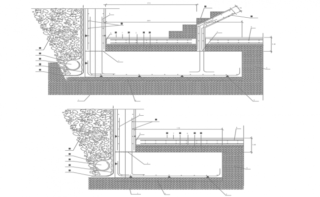 Section of foot in wall contention dwg file