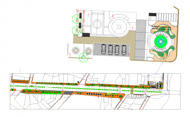 Section of the street plan detail dwg file.