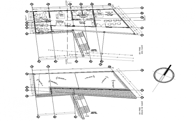 Section office plan detail dwg file