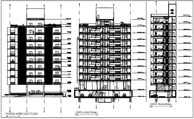 Section plan and elevation detail dwg file