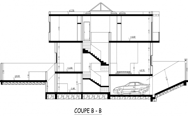 Section plan of residence project detail