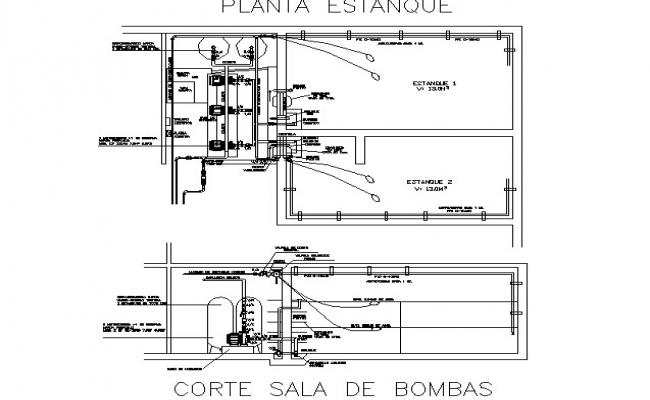 Section pump room detail dwg file