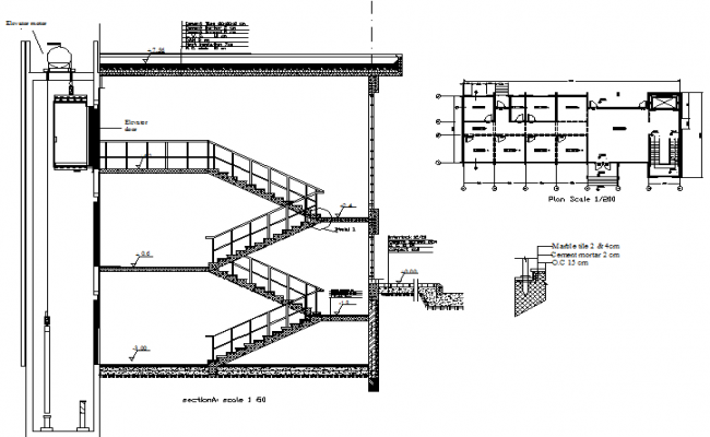 Section stair detail dwg file