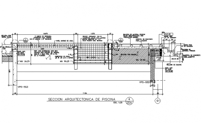 Swimming Pool Plan And Section In DWG File