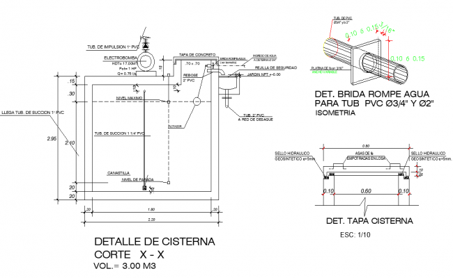 Section tank plan detail dwg file