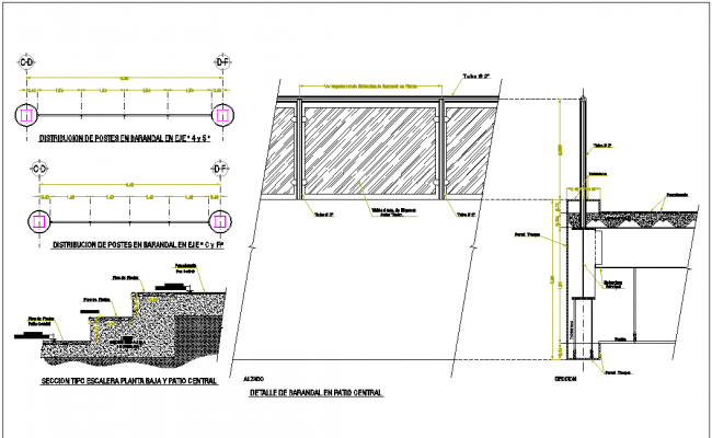 Section view detail of floor slab and stair dwg file