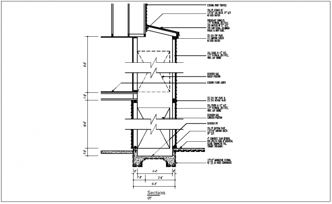Section view detail of wall, column, floor slab, beam detail dwg file