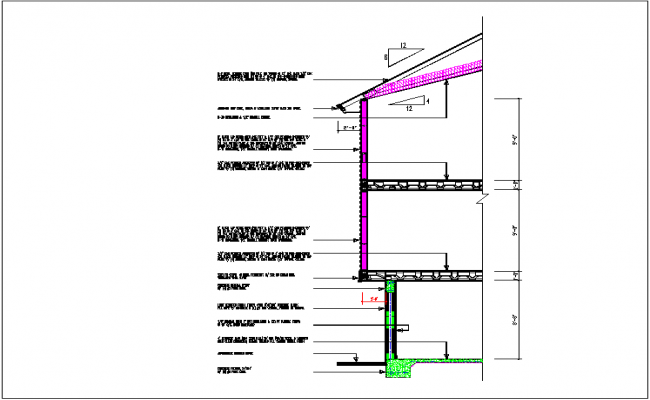 Section view detail with specification of roof and column detail dwg file