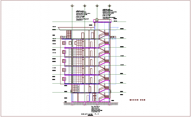 Section view for mixed use high rise building dwg file