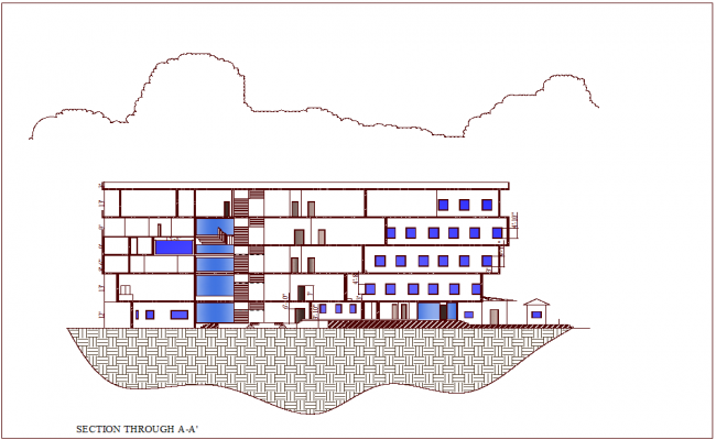 Section view of architectural school with architectural view dwg file